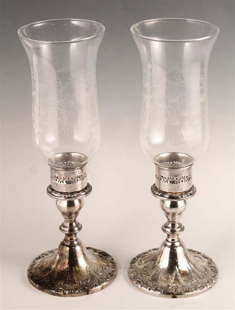 Silver And Glass Hurricane Candle Holders 1950s 60s Gorham Ornate Pair Silver Sp Etched Glass