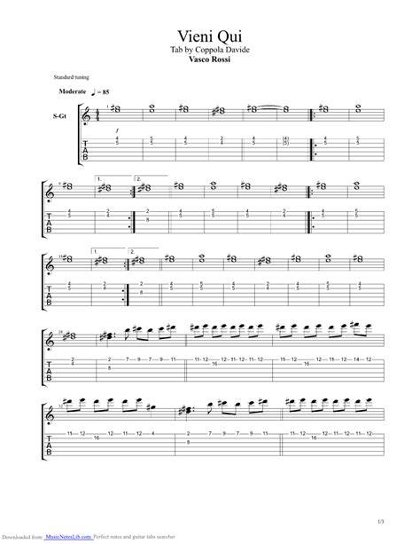senza parole vasco accordi vieni qui guitar pro tab by vasco musicnoteslib