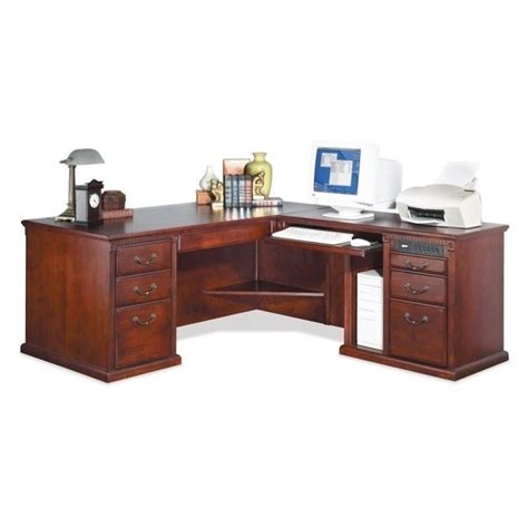 Cherry L Shaped Desk by Kathy Ireland Home By Martin Huntington Club Rhf L Shaped Executive Desk In Vibrant Cherry