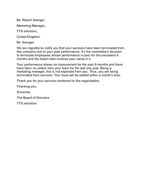 termination letter for services rendered sle termination letter for poor performance botbuzz co