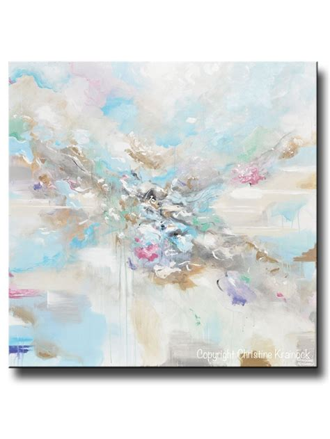 light blue white paint original art abstract blue white painting large 48