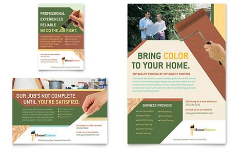 painter amp painting contractor flyer amp ad template