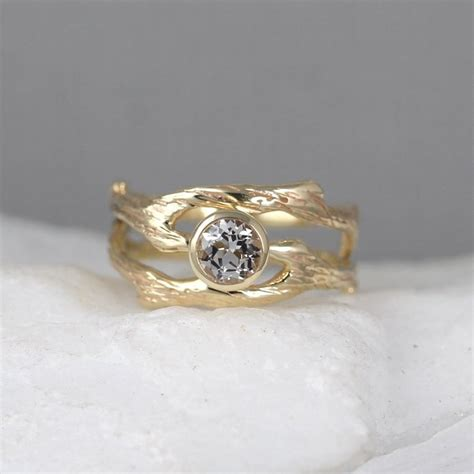 branch style engagement ring and wedding band set twig