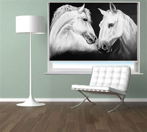 horse patterned roller blinds madly deeply two white horses printed roller blind by