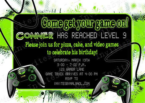 Party Invitation Templates Video Game Party Invitations Easytygermke Com Invitation Templates Gaming Invitation Template