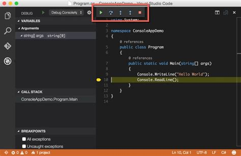 app console creating and debugging c console apps with visual studio