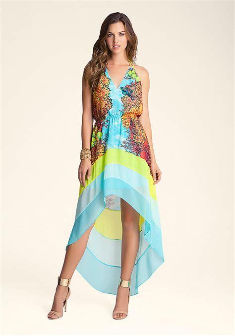 Sale Dress Bebe Halter 1 hi low printed halter dress bebe