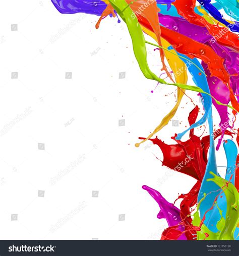 paint images colored paint splashes isolated on white background stock