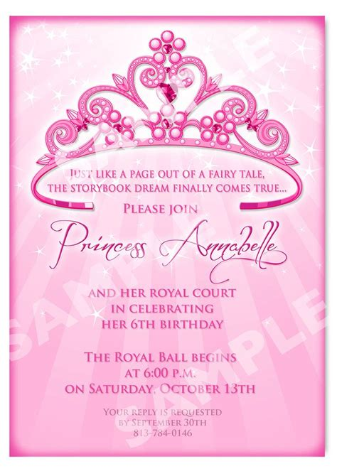 birthday invitation cards templates free printable princess birthday invitation templates