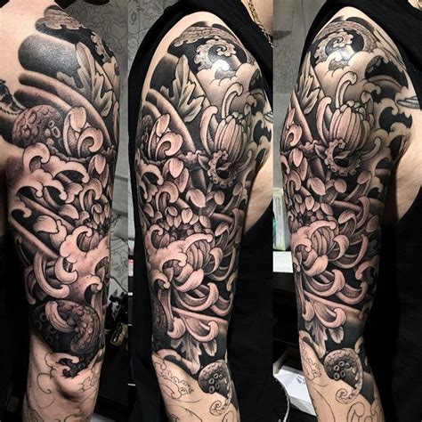 japanese sleeve tattoo in progress black and grey full