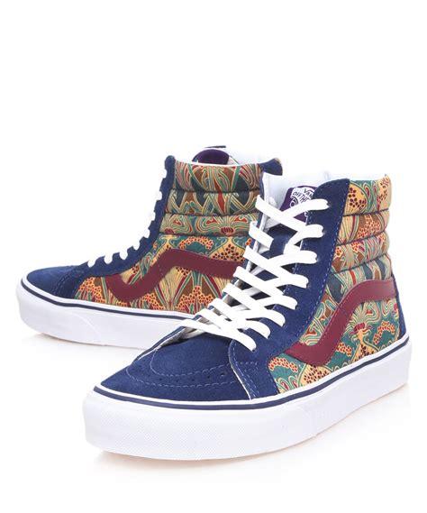 high top vans sneakers lyst vans blue sk8hi ianthe print high top trainers in