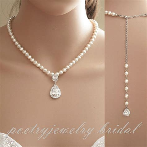 Wedding Necklaces by Bridal Backdrop Necklace Wedding Jewelry Pearl Back