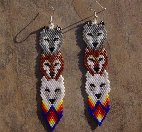 beaded wolf earring pattern wolf totem earrings made seed beaded inspired