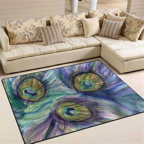 naanle peafowl area rug  peacock feather polyester area