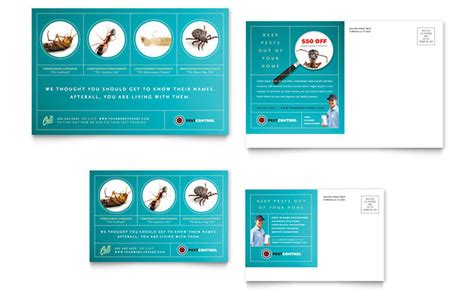Pest Control Services Postcard Template Design Postcard Design Template