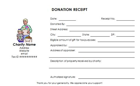 contribution receipt template charitable donation receipt template