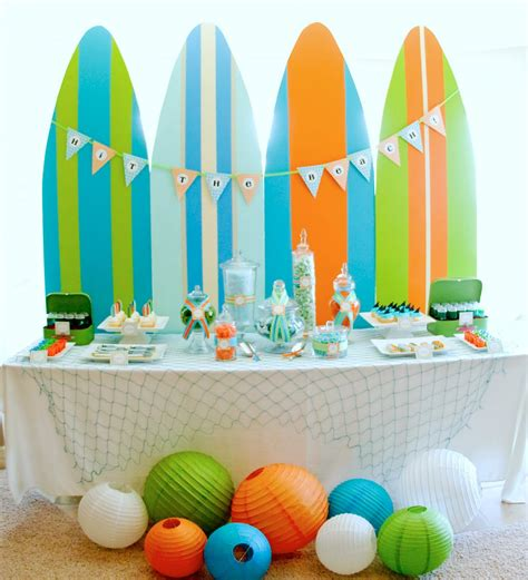 summer theme decorations kara s ideas surf s up summer pool kara s