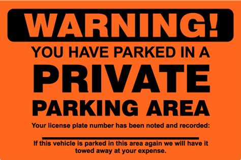 printable warning stickers private parking area violation sticker y6000 by
