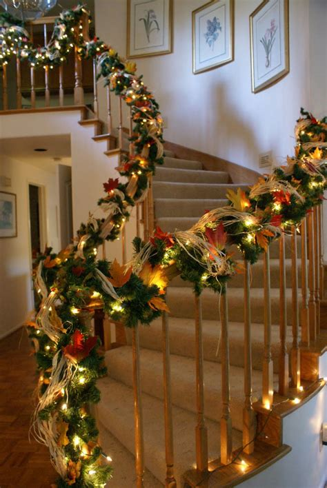 how to decorate banister with garland 30 cozy fall staircase d 233 cor ideas digsdigs