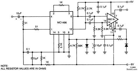 Mc1496d Mc1496 Mc 1496 Ic Balance Modulator circuit diagram of litude modulation by utilizing mc1496 circuit and schematics diagram