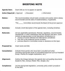 Ministerial Briefing Template by Sle Briefing Note 5 Documents In Pdf Word