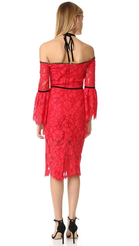 alexis odette velvet necktie off the shoulder lace dress alexis odette dress in red lyst