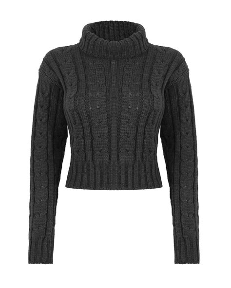 knitted womens jumpers new womens knitted polo neck chunky knit cable