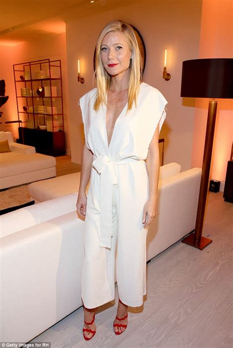 Gwyneth Paltrow Wardrobe by Gwyneth Paltrow Displays Chest In A Plunging White