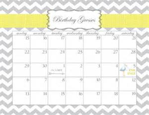 Baby Calendar Template by Baby Shower Calendar Printable Pdf Birthday Guesses Dates