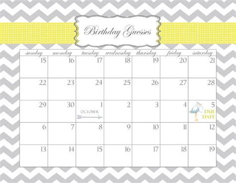 baby shower calendar printable pdf birthday guesses dates