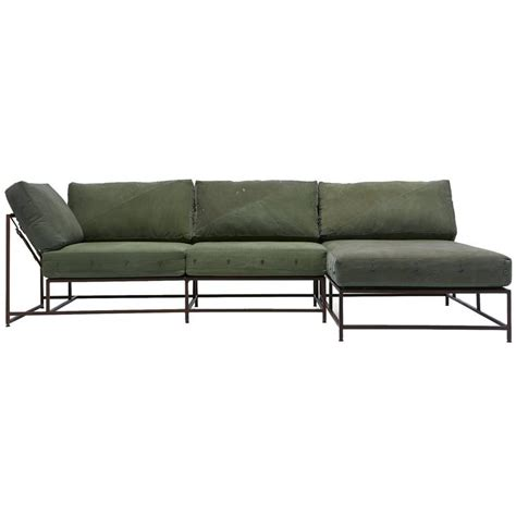 military sofa vintage military canvas and marbled rust sectional for