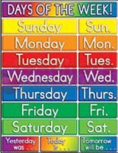what is the day today of week days of the week in monday tuesday