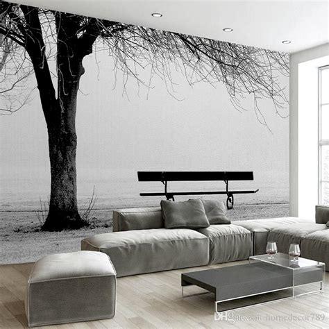 custom  photo wallpaper mural black white big tree bench