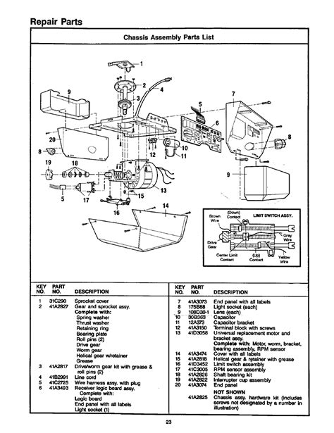 chassis assembly parts list repair parts craftsman