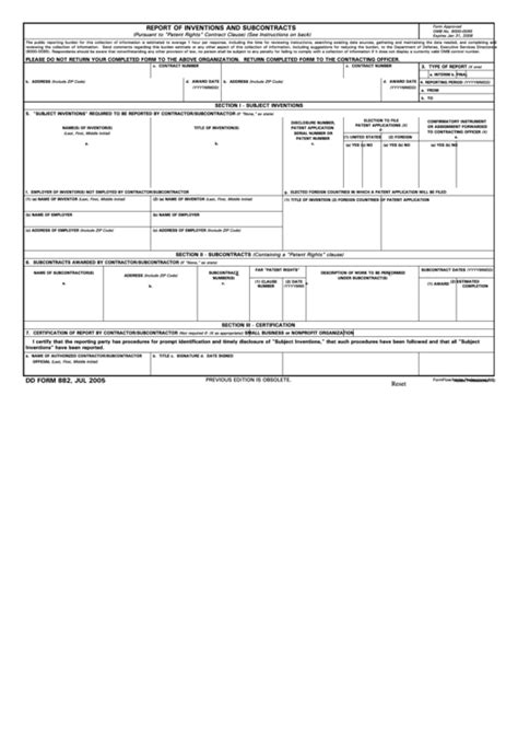 Fillable Dd Form 882 - Report Of Inventions And