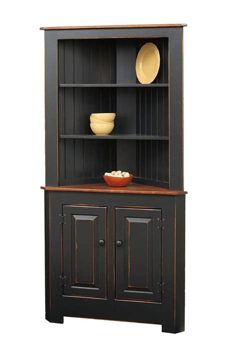 Corner Kitchen Hutch Furniture by Amish Corner Hutches Handcrafted Solid Wood Corner