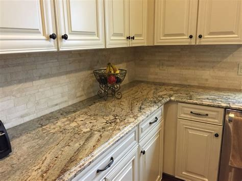 backsplash for kitchen with granite my kitchen typhoon bordeaux granite with travertine