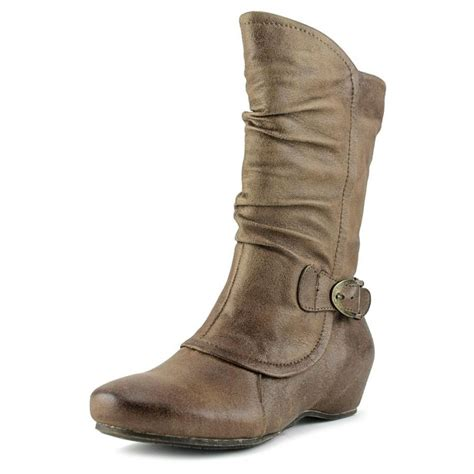 shelby textile brown mid calf boot boots