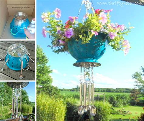 Diy Flower Garden Ideas Colander Wind Chime Flower Hanging Pot Creative Ways To Add Color And To A Garden Porch