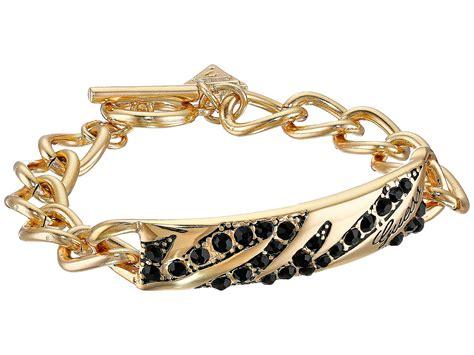 Guess Rantai Batik Kotak Gold lyst guess toggle animal id bracelet in metallic