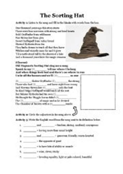 printable house sorting quiz the sorting hat song quiz and adjectives