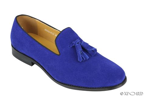 blue suede shoes new mens real leather slip on smart casual tassel loafers
