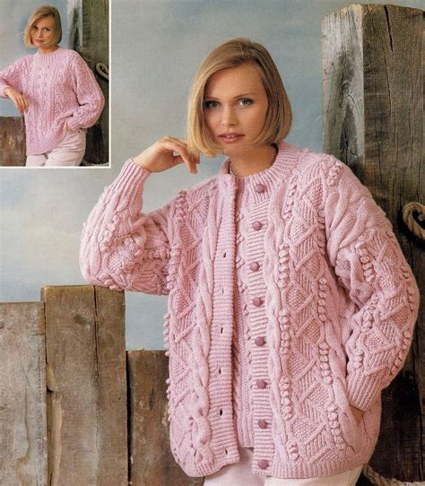 free knitting pattern jumper dk aran dk round neck cardigan sweater knitting pattern