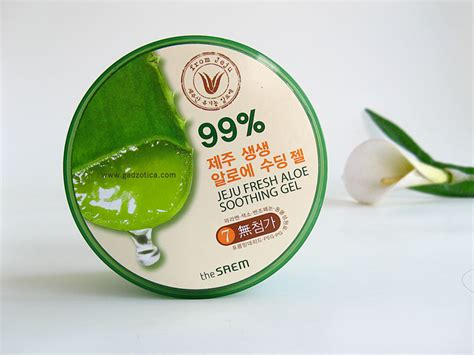 The Saem Jeju Aloe Vera Soothing Gel 99 the saem jeju fresh aloe soothing gel review gadzotica