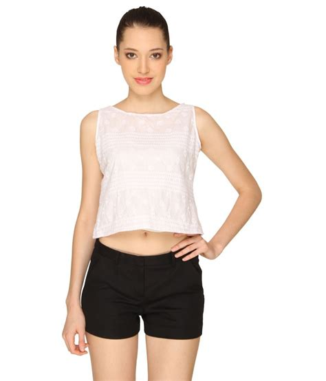 cotton crop top buy ashtag white cotton crop top at best prices in