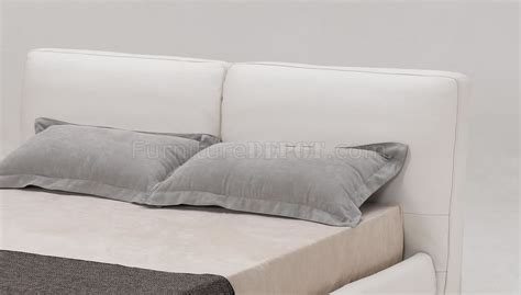 white cushion headboard white full italian leather modern bed w cushioned headboard