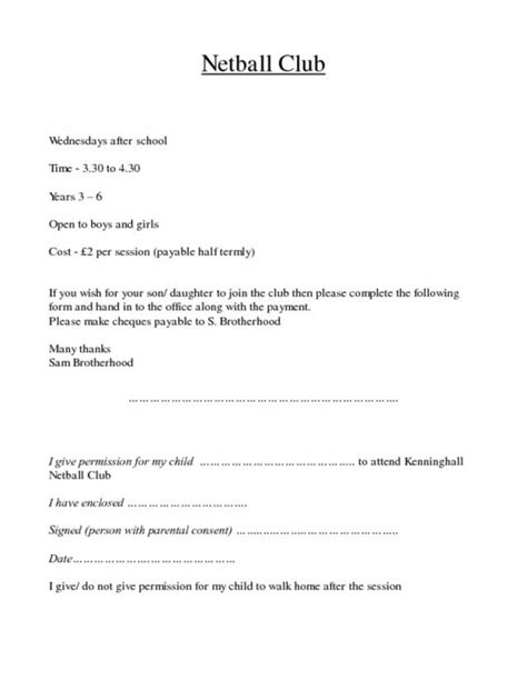Permission Letter To Work From Home Pregnancy netball club permission slip