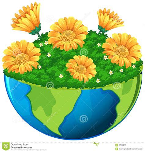 fiori gialli da giardino mondo con i fiori gialli in giardino illustrazione