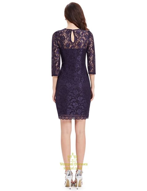 Sleeve Sheath Lace Dress purple lace illusion neckline sheath cocktail dress with 3