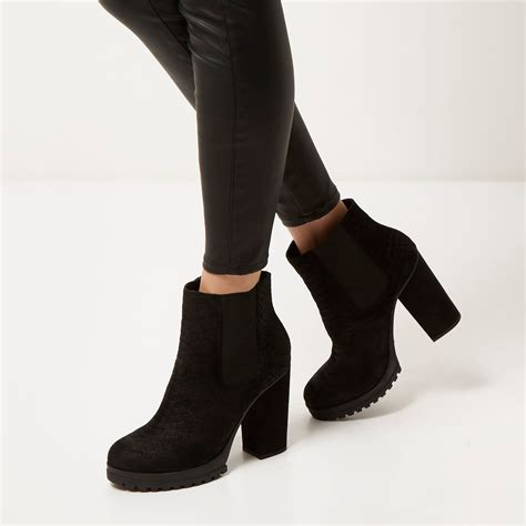 river island black suede heeled ankle boots in black lyst